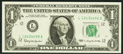 2001 $1 Federal Reserve Note Green Seal