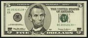 2003 $5 Federal Reserve Note Green Seal