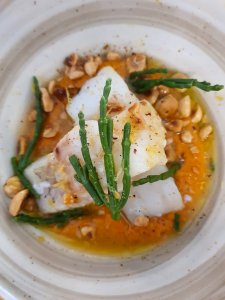 Best Restaurans in Sitges, Spain + What to Eat- Nem Restaurant-grilled cod with romesco sauce