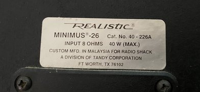 Realistic Minimus 26. Catalog Number 40 - 226A.