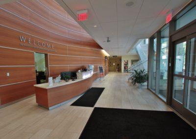 Genesis Cancer Center lobby custom wood work