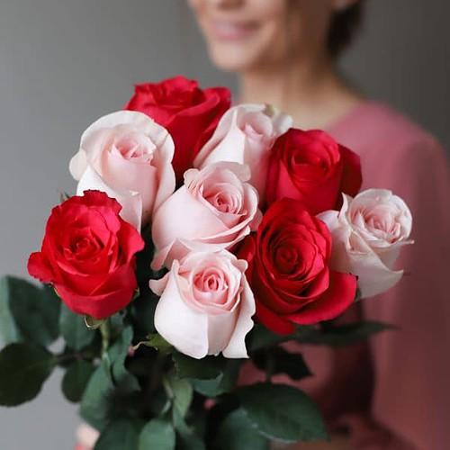 Монобукет из 9 роз (Эквадор) №1036 - Фото 8