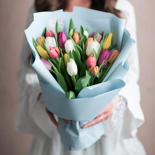 Монобукет из тюльпанов №1064 - Фото 9