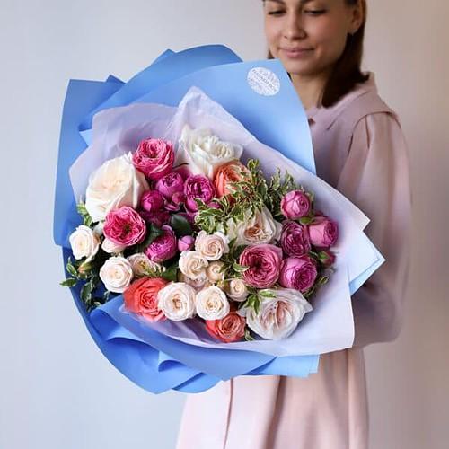 Букет из премиум пионовидных роз №1122 - Фото 7