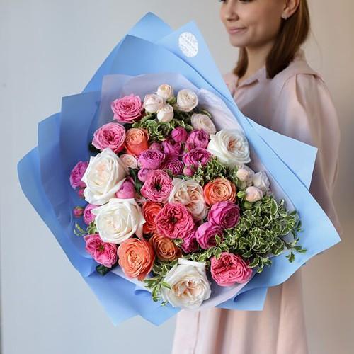 Букет из премиум пионовидных роз №1123 - Фото 7