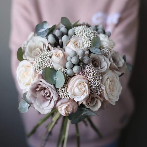 Свадебный букет с пудровыми розами №951 - Фото 4