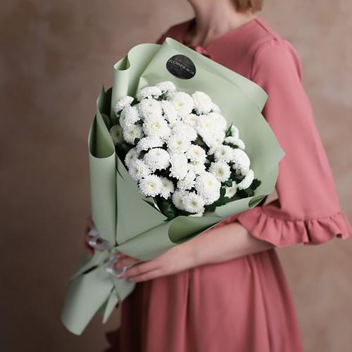 Монобукет из кустовых хризантем 7 шт №1009 - Фото 3