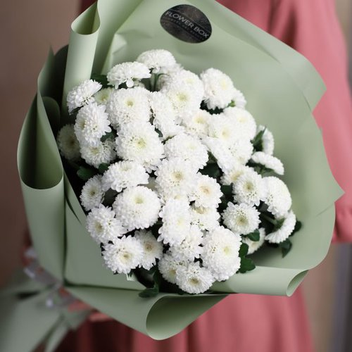 Монобукет из кустовых хризантем 7 шт №1009 - Фото 4