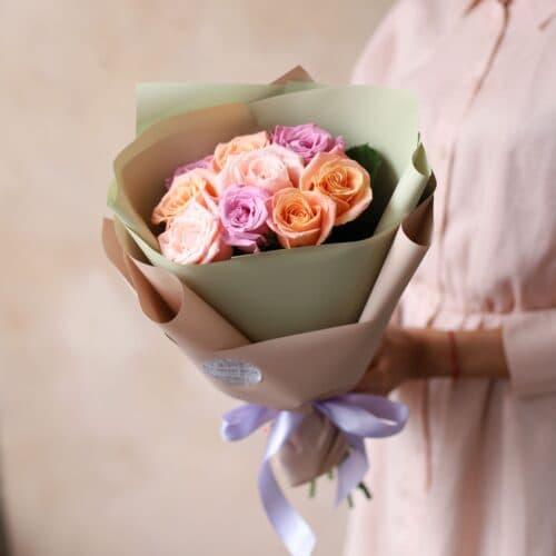 Монобукет из Российских роз (9 шт)  №1166 - Фото 5