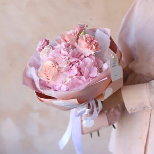 Сборный букет с розовой  гортензией №1153 - Фото 3