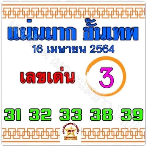 หวยแม่นมากขั้นเทพ 16/4/64