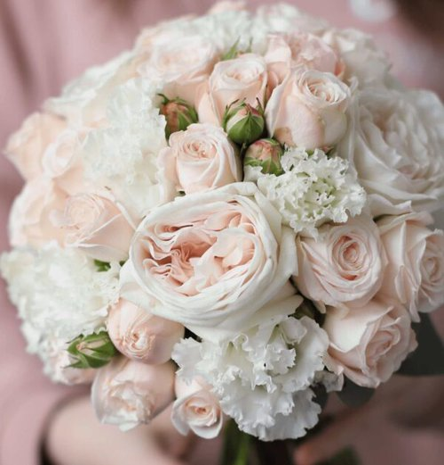 Классический свадебный букет в пудровой гамме №1125 - Фото 4