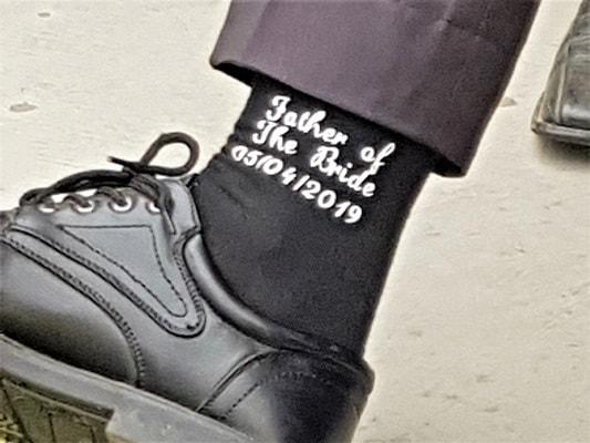 HTV on socks for wedding
