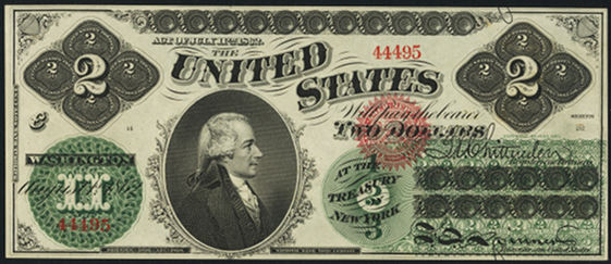 1862 Two Dollar Legal Tender Or United States Note
