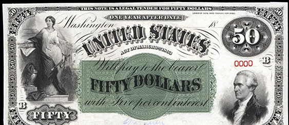 1863 Fifty Dollar Interest Bearing Notes 1yr