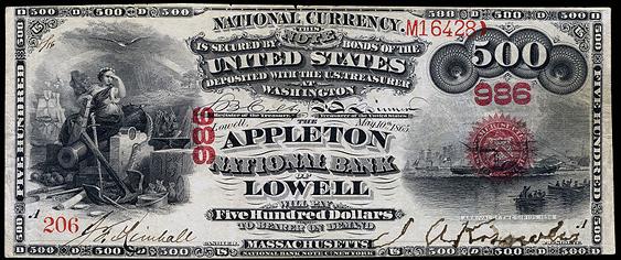 1863 Five Hundred Dollar Original Series National Bank Note