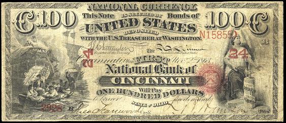1863 One Hundred Dollar Original Series National Bank Note