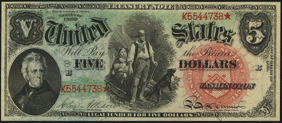 1869 Five Dollar Legal Tender Or United States Note