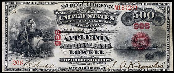1875 Five Hundred Dollar National Bank Note