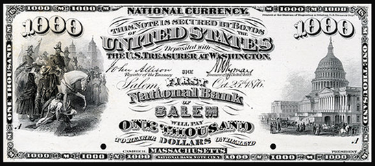 1875 One Thousand Dollar National Bank Note