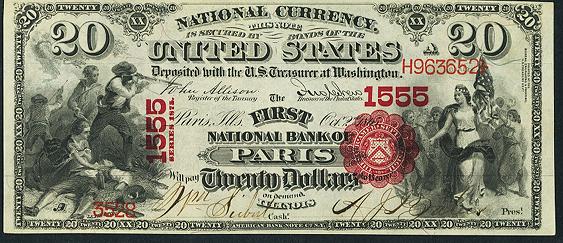 1875 Twenty Dollar National Bank Note