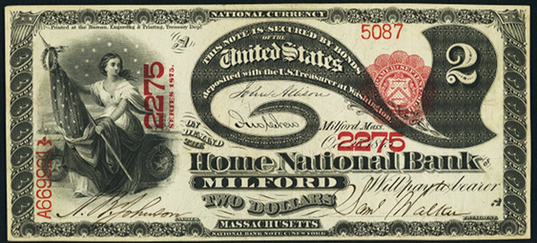 1875 Two Dollar National Bank Note