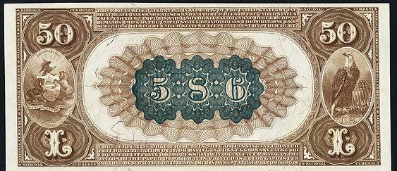 1882 $50 Brown Back - Back