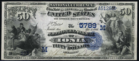 1882 $50 Date Back - Front