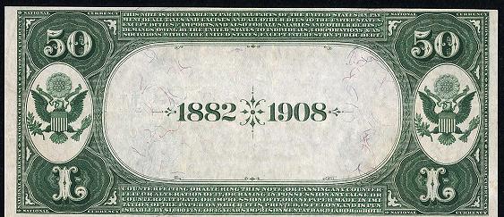 1882 $50 Date Back - Back