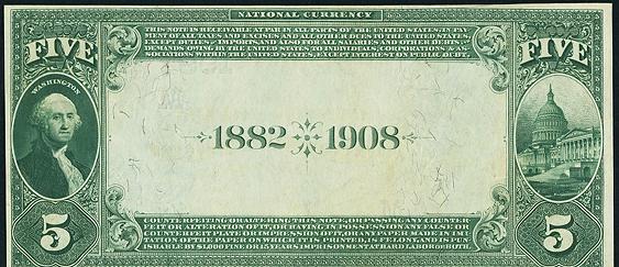 1882 $5 Date Back - Back