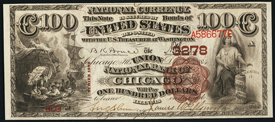 1882 $100 Brown Back - Front