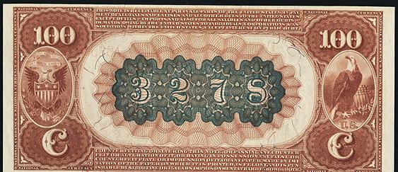 1882 $100 Brown Back - Back