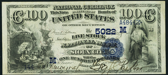 1882 $100 Date Back - Front