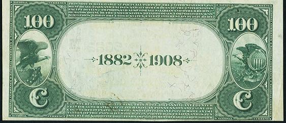 1882 $100 Date Back - Back