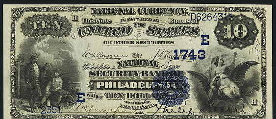 1882 $10 Date Back - Front