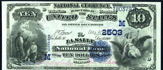 1882 $10 Value Back - Front