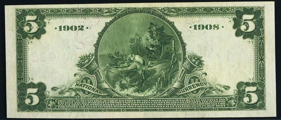 1902 $5 Date Back - Back