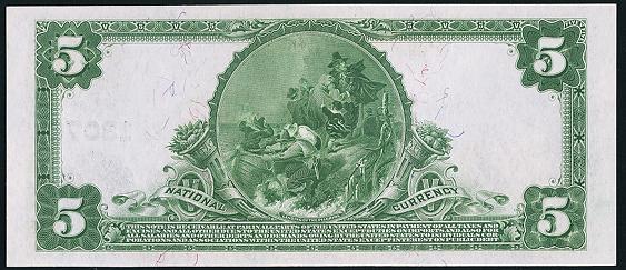 1902 $5 Plain Back - Back