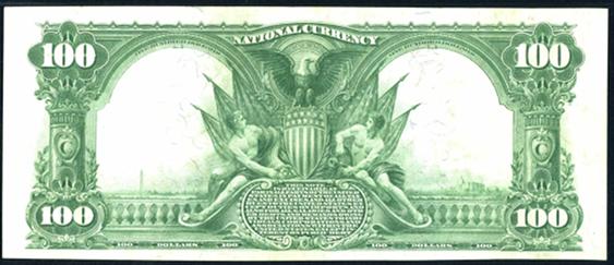 1902 $100 Plain Back - Back