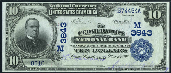 1902 $10 Date Back - Front