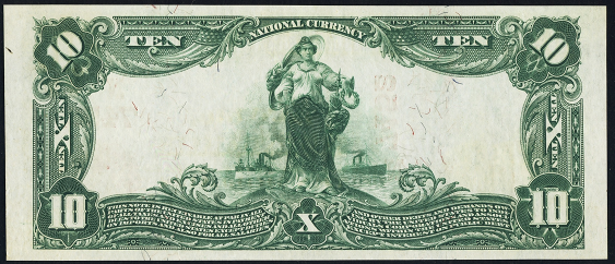 1902 $10 Red Seal - Back