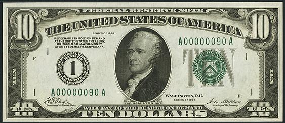 1928 Ten Dollar Federal Reserve Note