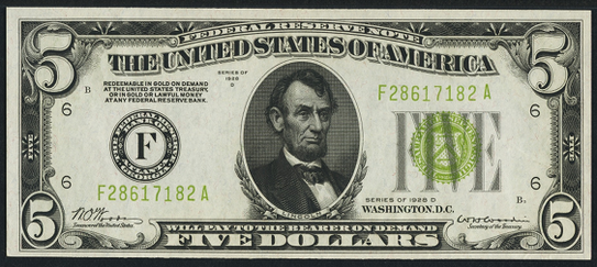 1928d Five Dollar Federal Reserve Note