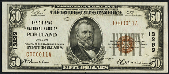 1929 \$50 Type 1 - Front