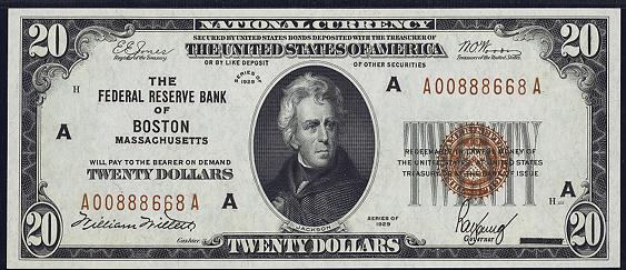 1929 Twenty Dollar Federal Reserve Bank Note