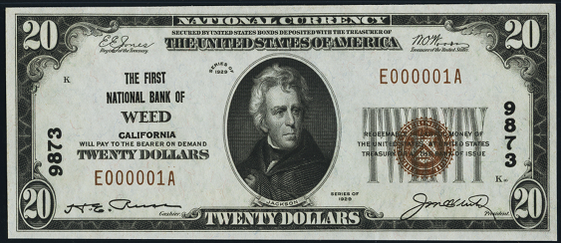 1929 \$20 Type 1 - Front
