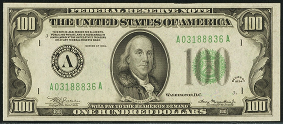 1934 One Hundred Dollar Federal Reserve Note