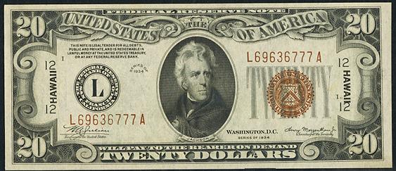 1934 Twenty Dollar Federal Reserve Notes Hawaii Brown Note