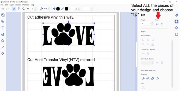 """Mirrored HTV showing the 'Flip"""" icon in Canvas Workspace"""
