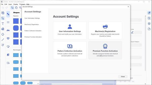 Premium Function Activation screen in Canvas Workspace